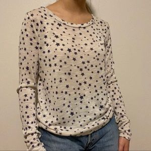 blue and white star patterned sweater